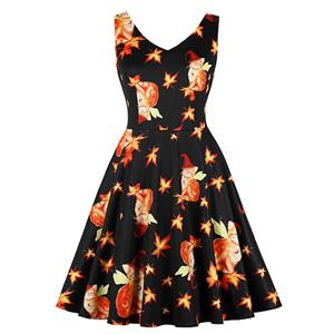 Vintage Dresses for Women, Halloween Party Dress, Vintage Sleeveless Swing Dresses, A-line Cocktail Party Swing Dresses, Fashion Cat Print Vintage Dress, V Neck Vintage Day Dress, #N17751