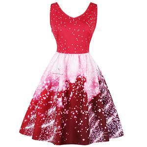 Sleeveless Christmas Dress, Christmas Swing Dress, Christmas Party Tea Cocktail Dress, Floral Print Dress, Christmas Gifts Dress, #N15031