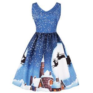 Sleeveless Christmas Dress, Christmas Swing Dress, Christmas Party Tea Cocktail Dress, Floral Print Dress, Christmas Gifts Dress, #N15033