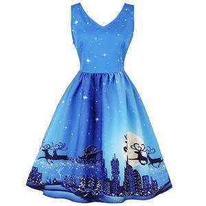 Sleeveless Christmas Dress, Christmas Swing Dress, Christmas Party Tea Cocktail Dress, Floral Print Dress, Christmas Gifts Dress, #N15035