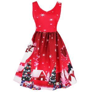 Sleeveless Christmas Dress, Christmas Swing Dress, Christmas Party Tea Cocktail Dress, Floral Print Dress, Christmas Gifts Dress, #N15036