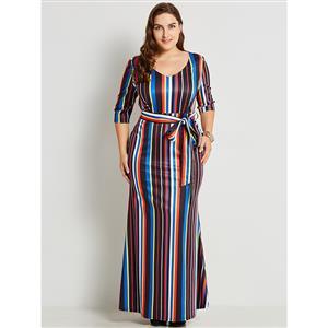 Half Sleeve Dresses for Women, Round Neck Maxi Dress, Plus Size Maxi Dress, Multi-color Stripe Maxi Dress, Slim Fit Maxi Dress, V Neck Fashion Maxi Dresses, #N15777