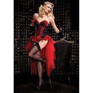 Valentina Corset and Bustle Skirt Set, Burlesque Corset and Skirt Set, Long Mesh Bustle Skirt and Corset, #N4295