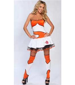 Finding Clownfish Costume, Sexy Fish Costume, Adult Clownish Halloween Costume, #C2784