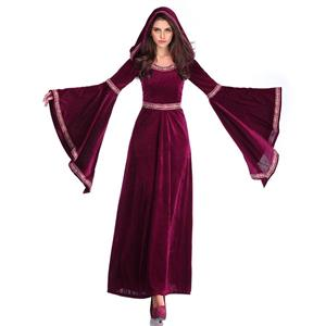 High Priestess Role Play Costume, Classical Adult Medieval Vampire Halloween Costume, Deluxe Medieval High Priestess Costume, Royal Vampire Masquerade Costume, #N18956