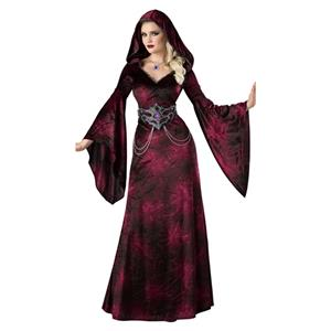 Noble Vampire Red Cap Belt Maxi Dress Adult Halloween Masquerade Costume N19546