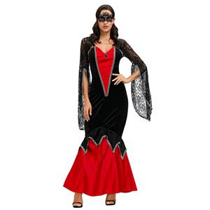 High Priestess Role Play Costume, Classical Adult Medieval Vampire Halloween Costume, Deluxe Medieval High Priestess Costume, Royal Vampire Masquerade Costume, #N20601