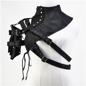 Gothic Black Leather One-shoulder Steampunk Rivet Embellished Shrug N18754