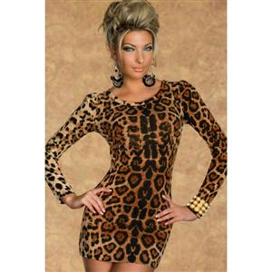 Velvet Crew Neck Leopard Mini Dress N6747