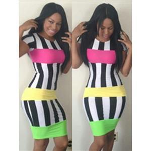 Bandage Dress, Vestido Stripe Bodycon Dress, Party Club Casual Dress, #N6886