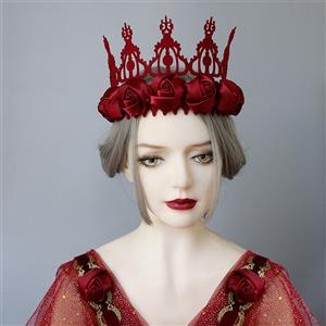 Retro Christmas Headwear, Gothic Style Red Rose Headwear, Fashion Hair Ornament for Women, Vintage Hair Ornament, Casual Hair Accessory, Victorian Gothic Red Rose Hair Accessory, Fashion Hair Accessory, #J19991