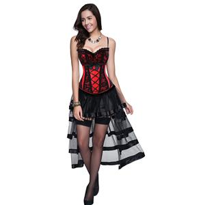 Sexy Red Victorian Christmas Corset Skirt Set N12258