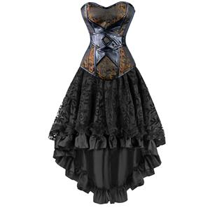 2Pcs Vintage Gothic Victorian Brocade Embroidery Overbust Corset With Lace Dancing Skirt Set N12135