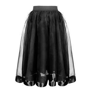 Gothic Corset Skirt, Gothic Cosplay Skirt, Halloween Costume Skirt, Gothic Organza Long Skirt, Elastic Skirt, Short Front Ruffle Skirt, Sexy Gothic Black Skirt, #N19423