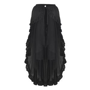 Steampunk Skirt, Gothic Cosplay Skirt, Halloween Costume Skirt, Pirate Costume, Elastic Skirt, Short Front Ruffle Skirt, Gothic Multi-layered Ruffle Skirt, #N18944