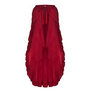 Steampunk Skirt, Gothic Cosplay Skirt, Halloween Costume Skirt, Pirate Costume, Elastic Skirt, Short Front Ruffle Skirt, Gothic Multi-layered Ruffle Skirt, #N18945