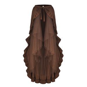 Steampunk Skirt, Gothic Cosplay Skirt, Halloween Costume Skirt, Pirate Costume, Elastic Skirt, Short Front Ruffle Skirt, Gothic Multi-layered Ruffle Skirt, #N18946