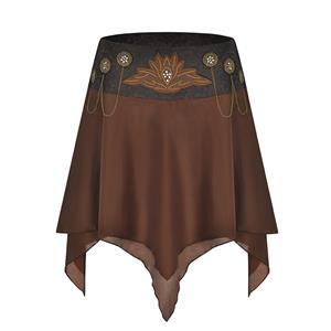 Steampunk Skirt, Gothic Cosplay Skirt, Halloween Costume Skirt, Pirate Costume, Elastic Skirt, Short Front Skirt, Gothic Multi-layered Skirt, #N19019