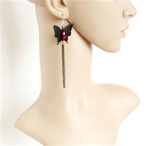 Retro Black Butterfly Earrings, Gothic Style Black Butterfly Earrings, Fashion Black Butterfly Earrings for Women, Vintage Black Butterfly and Ruby Earrings, Casual Black Butterfly Earrings, Victorian Gothic Black Butterfly and Ruby Earrings, Fashion Black Butterfly Earrings, #J18441