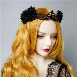 Vintage Headwear, Gothic Style Black Rose Headwear, Victorian Queen Hair Ornament, Vintage Hair Ornament, Casual Hair Accessory, Victorian Headand, Fashion Hair Accessory, #J20104