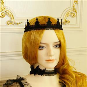Retro Headwear, Gothic Style Black Headwear, Fashion Black Hair Ornament for Women, Vintage Hair Ornament, Casual Hair Accessory, Victorian Gothic Black Hair Accessory, Fashion Hair Accessory, #J19187