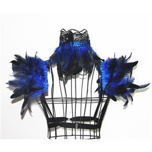 Victorian Gothic Blue Feather Collar Scarf And Shoulder Armor Corset Accessories N20020