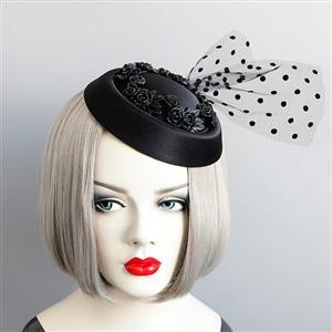 Retro Fancy Fascinator Felt Hat Hair Clip, Party Hairpin, Fashion Ball Hair Accessory, Fancy Victorian Style Fascinator Hair Clip, Vintage Mesh Fascinator Hairpin for Women, Gothic Style Hair Clip, #J18798
