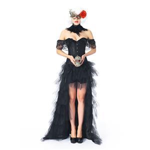 Heavy Plastic Boned Corset Skirt Set, Cheap Outerwear Corset Skirt Set, Retro Overbust Corset Skirt Set, Sexy Off Shoulder Corset Skirt Set, Black Lace Jacquard Overbust Corset Skirt Set, #N20307