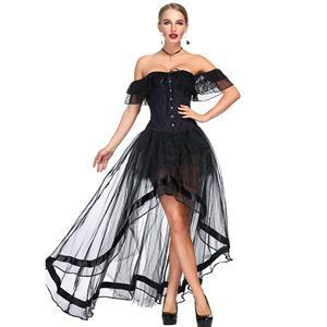 Heavy Plastic Boned Corset, Cheap Outerwear Corset Skirt Set, Retro Overbust Corset Skirt Set, Sexy Off Shoulder Corset and Skirt Set, Black Lace Jacquard Overbust Corset, Victorian Gothic Waist Cincher, #N18716