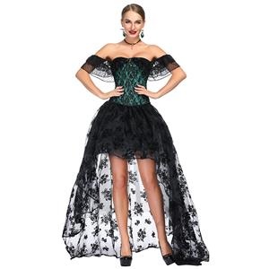Victorian Gothic Green Satin Off Shoulder Floral Lace Overbust Corset with Organza High Low Skirt Set N18717