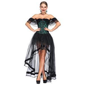 Heavy Plastic Boned Corset, Cheap Outerwear Corset Skirt Set, Retro Overbust Corset Skirt Set, Sexy Off Shoulder Corset and Skirt Set, Black Lace Jacquard Overbust Corset, Victorian Gothic Waist Cincher, #N18718