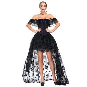 Heavy Plastic Boned Corset, Cheap Outerwear Corset Skirt Set, Retro Overbust Corset Skirt Set, Sexy Off Shoulder Corset and Skirt Set, Black Lace Jacquard Overbust Corset, Victorian Gothic Waist Cincher, #N18719