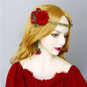 Vintage Headwear, Gothic Style Red Rose Headwear, Victorian Princess Hair Ornament, Vintage Hair Ornament, Casual Hair Accessory, Victorian Headand, Fashion Hair Accessory, #J20103