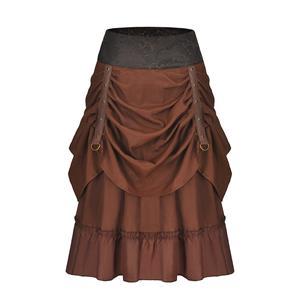 Steampunk Multi-layered Ruffle Hemline PU Leather Eyelets Tiered High Waist Skirt N18793
