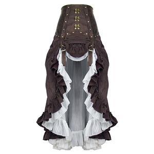 Steampunk Skirt, Gothic Cosplay Skirt, Halloween Costume Skirt, Pirate Cosplay Costume, Elastic Skirt, Short Front Ruffle Skirt, Victorian Gothic High-low Skirt, #N19282