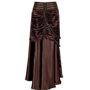 Steampunk Gothic Vintage Brown Satin Skirt N12366