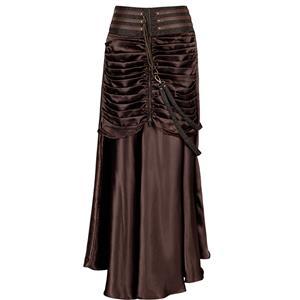 Steampunk Brown Skirt, Satin Skirt for Women, Gothic Cosplay Skirt, Halloween Costume Skirt, Plus Size Skirt, Pirate Costume, #N12366