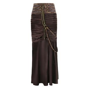 Steampunk Gothic Vintage Brown Satin Skirt N12366