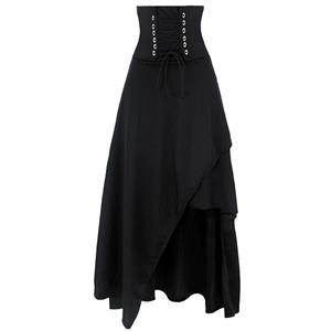 Steampunk Black Skirt, Satin Skirt for Women, Gothic Cosplay Skirt, Halloween Costume Skirt, Plus Size Skirt, Pirate Costume, #N12870