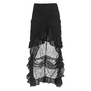 Steampunk Skirt, Satin Skirt for Women, Gothic Cosplay Skirt, Halloween Costume Skirt, Plus Size Skirt, Pirate Costume, Elastic Skirt, #N12871