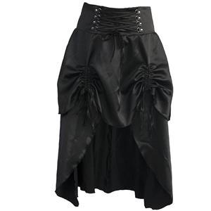 Steampunk Black Skirt, Satin Skirt for Women, Gothic Cosplay Skirt, Halloween Costume Skirt, Plus Size Skirt, Pirate Costume, #N11948