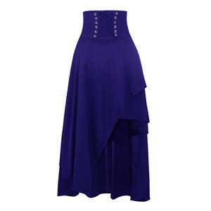 Steampunk Blue Skirt, Satin Skirt for Women, Gothic Cosplay Skirt, Halloween Costume Skirt, Plus Size Skirt, Pirate Costume, #N15677