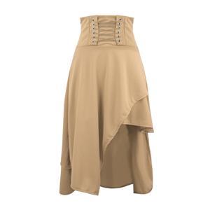 Steampunk Khaki Skirt, Satin Skirt for Women, Gothic Cosplay Skirt, Halloween Costume Skirt, Plus Size Skirt, Pirate Costume, #N15678