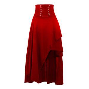 Steampunk Red Skirt, Satin Skirt for Women, Gothic Cosplay Skirt, Halloween Costume Skirt, Plus Size Skirt, Pirate Costume, #N15675