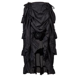 Steampunk Skirt, Gothic Cosplay Skirt, Halloween Costume Skirt, Pirate Costume, Elastic Skirt, Short Front Ruffle Skirt, #N12983