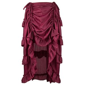 Victorian Steampunk Gothic Short Front Ruffle Skirt N15064