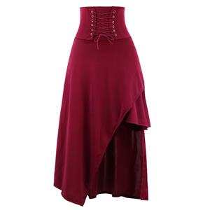 Steampunk Wine-Red Skirt, Satin Skirt for Women, Gothic Cosplay Skirt, Halloween Costume Skirt, Plus Size Skirt, Pirate Costume, #N15676