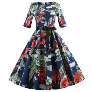 Vintage Leaves Print Dresses for Women, Sexy Dresses for Women Cocktail Party, Vintage High Waist Dress, Half Sleeves Swing Daily Dress, Retro Big Leaves Pattern Swing Dress, Elegant Dark Blue Party Dress, #N18596