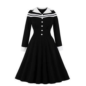 Sexy A-line Dress,Plus Size Autumn Dress,Vintage Dresses for Women,High Waist Dresses for Women,Lapel Dress for Women, Daily High Waist Dress,Classic Wild Dress, #N19593