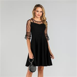 Sheer Mesh Dress, Fashion A-line Swing Dress, Retro Dresses for Women 1960